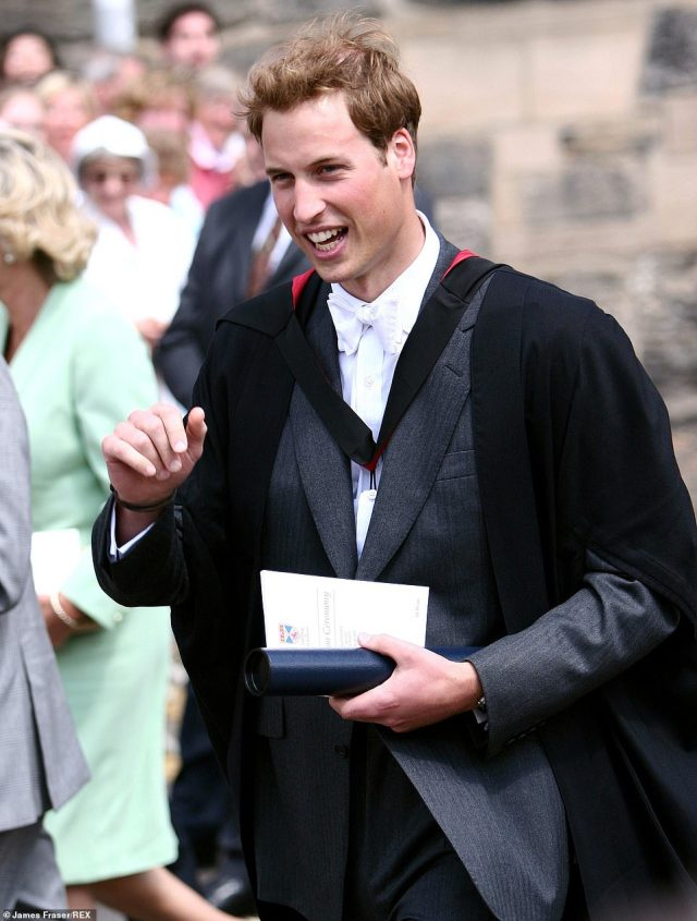 Royally good fun: Prince William at his graduation from St Andrews University in June 2005