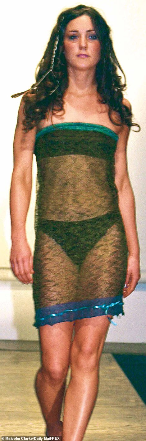 It was in 2002 that Kate reportedly caught William's eye when she sashayed in a see-through sheer dress with visible black underwear down the runway at a university charity fashion show, prompting Wills' much-quoted comment, 'Wow, Kate's hot!'