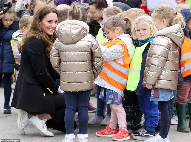 Delighted: The Duchess of Cambridge was in her element as she spoke to the children on the royal outing today