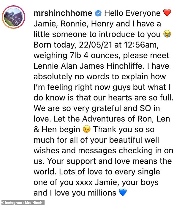 'Let the Adventures of Ron, Len & Hen begin': Mrs Hinch thanked her fans for all their well wishes as she shared the exciting news of Lennie's arrival