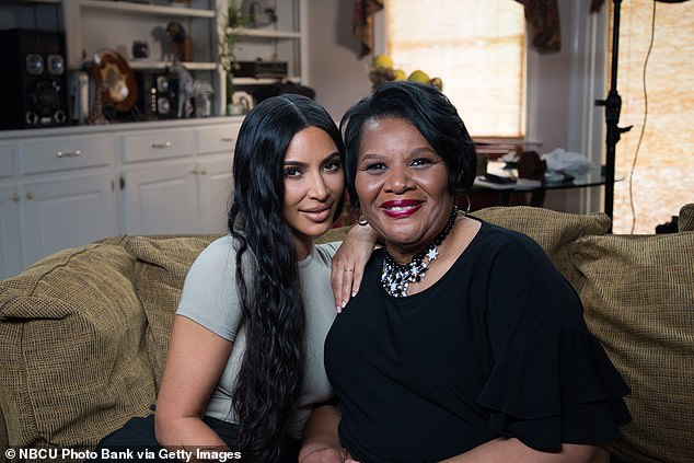 Kim has already focused much of her time on criminal justice reform and helped get Alice Marie Johnson (pictured together) pardoned from a life sentence stemming from a 1996 conviction on nonviolent drug charges