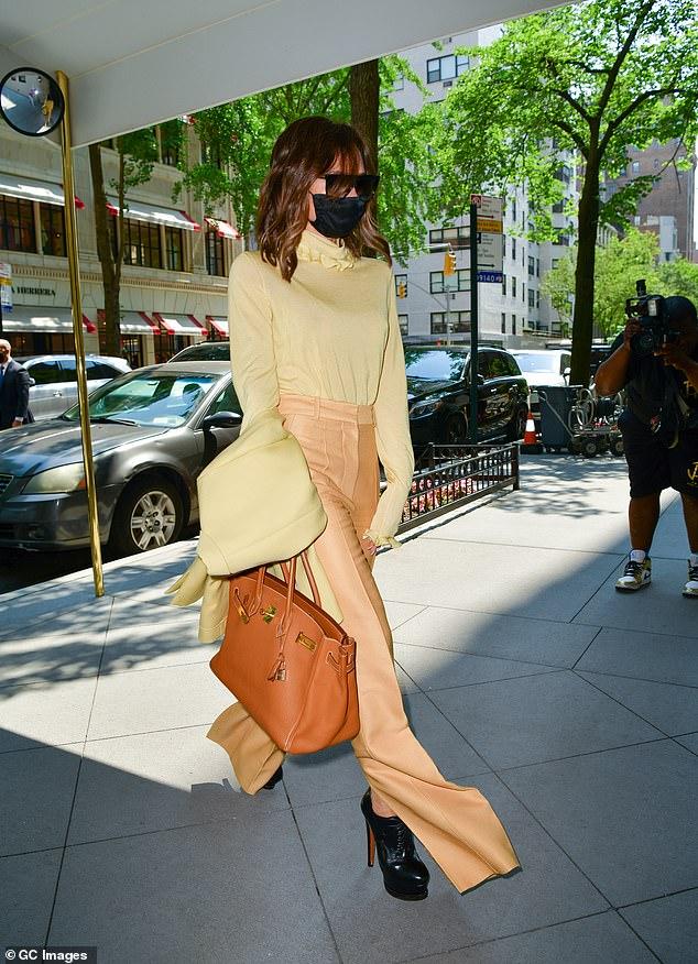 Stunner: She wore a pair of sky-high Christian Louboutin heels