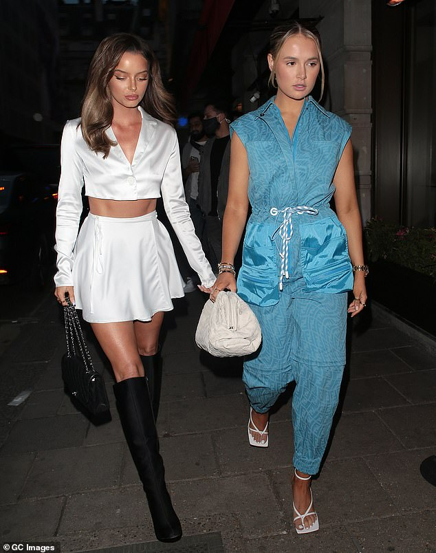 Birthday girl:Molly-Mae Hague looked every inch the birthday girl on Wednesday night as she celebrated her 22nd with BFF Maura Higgins in Mayfair, London