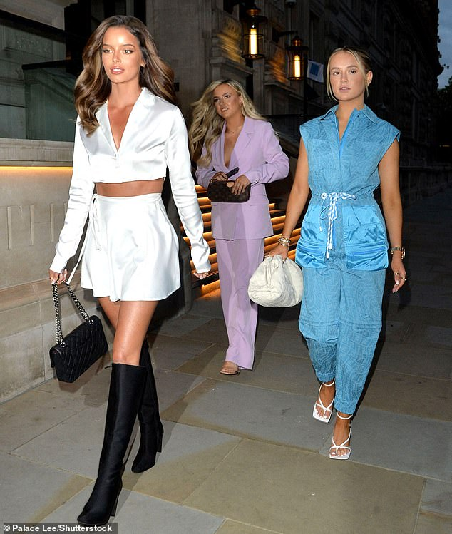 Trio:The two Love Island stars were joined but the influencer's sister, Zoe Hague, as they enjoyed dinner at Novikov Restaurant and Bar during their stay at the Corinthia hotel