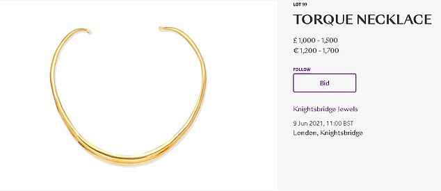 The sale also includes the gold necklace she bought in California to celebrate getting her role as Alexis in Dynasty