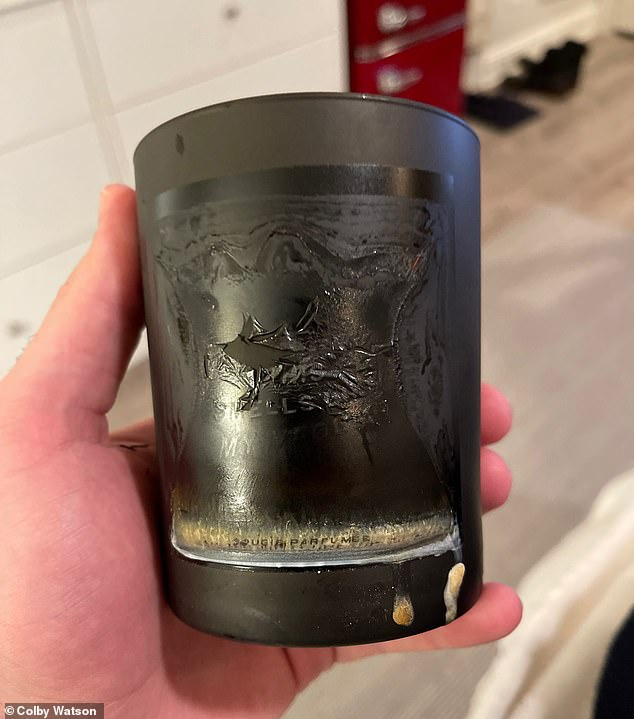 Evidence: Colby Watson alleges that his candle (pictured) - which he says he purchased on the Goop website in January - became 'engulfed in flames'