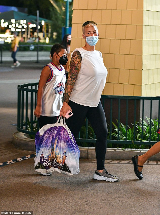 Group outing:The rapper, 31, and his fashion designer love, 22, were also joined at the park by model Amber Rose, 37, and her son with Wiz Khalifa, Sebastian