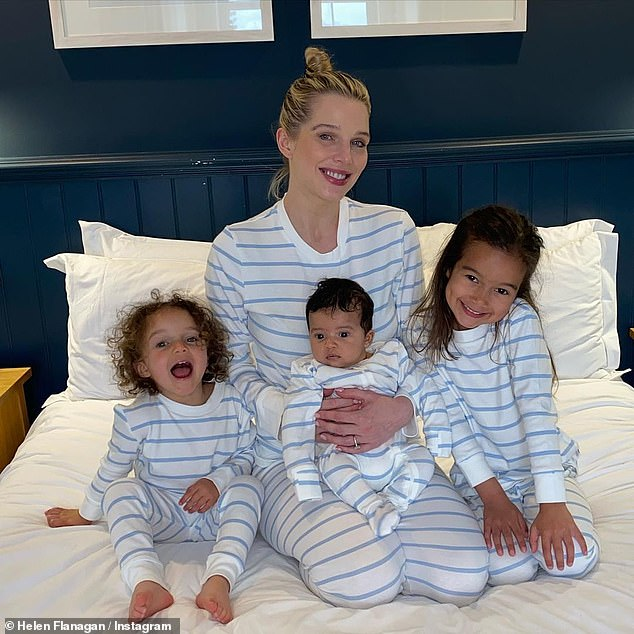 Stripes galore! Helen Flanagan shared a sweet Instagram picture on Thursday of herself and her three children wearing matching pyjamas while on a Cornish staycation