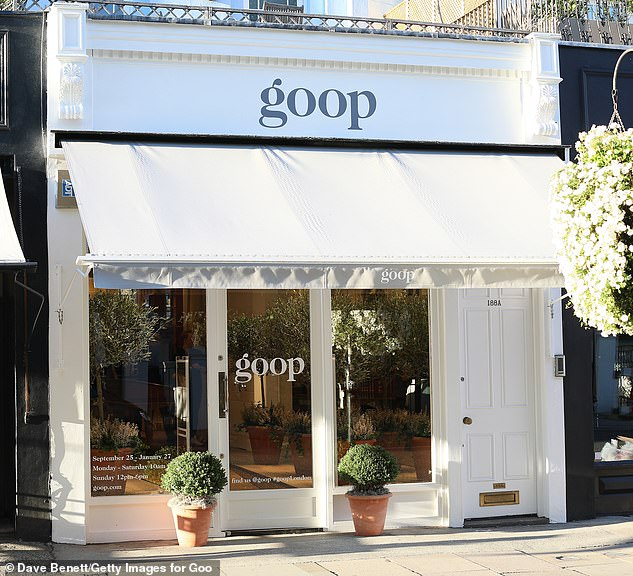 Now shuttered: The A-lister opened Goop's London branch in Notting Hill in 2018, however the shop was shuttered in October