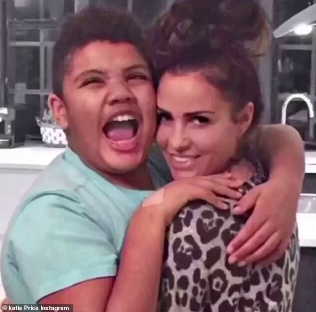 Sweet:The former glamour model, 43, took to her Instagram on Thursday where she uploaded a photo montage of photos of herself and Harvey throughout the years, writing in the caption that he is her 'absolute world'