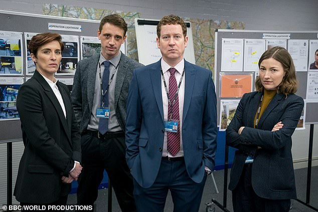 Stars: (L-R) Kate Fleming (played by Vicky McClure), DS Chris Lomax (Perry Fitzpatrick), DCI Ian Buckells (Nigel Boyle) and DCI Joanne Davidson (Kelly Macdonald)