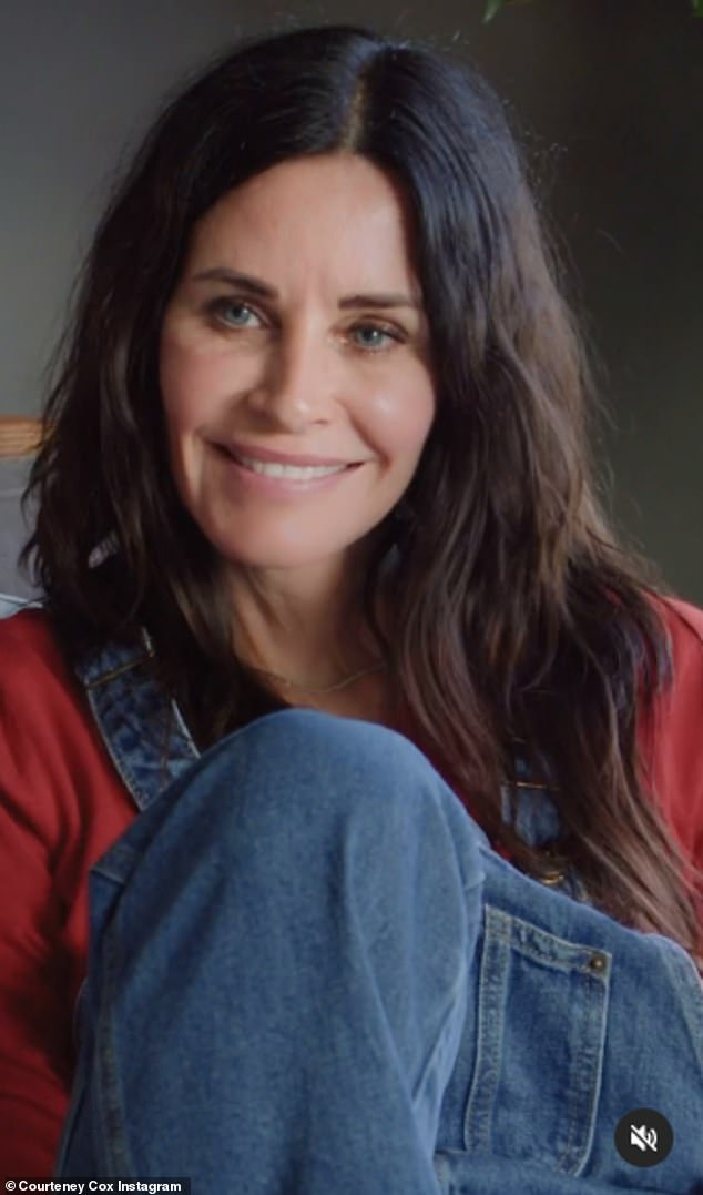 Back at it: Courteney Cox donned a pair of overalls and a red shirt before showing a clip of herself playing Monica Geller on Friends in a video shared to her Instagram account on Thursday
