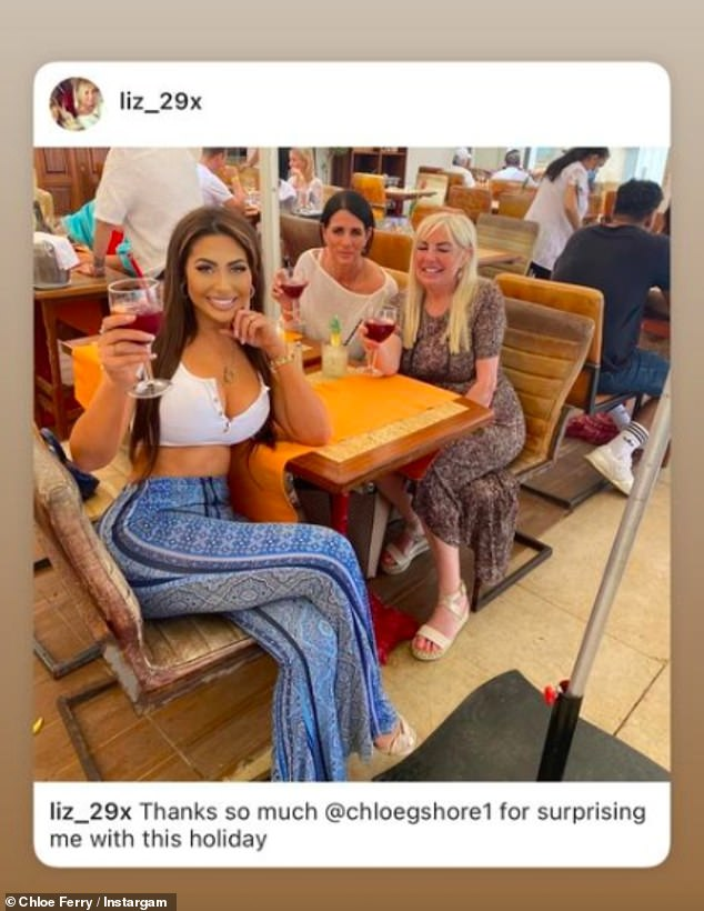 Girly trip: Her mum took to Instagram to share a sweet snap of them together enjoying lunch out