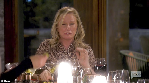Drinks time!In the clip, Kathy is seen downing martini after martini while proclaiming 'Bottoms Up!' - even getting Dorit Kemsley to join her in the game