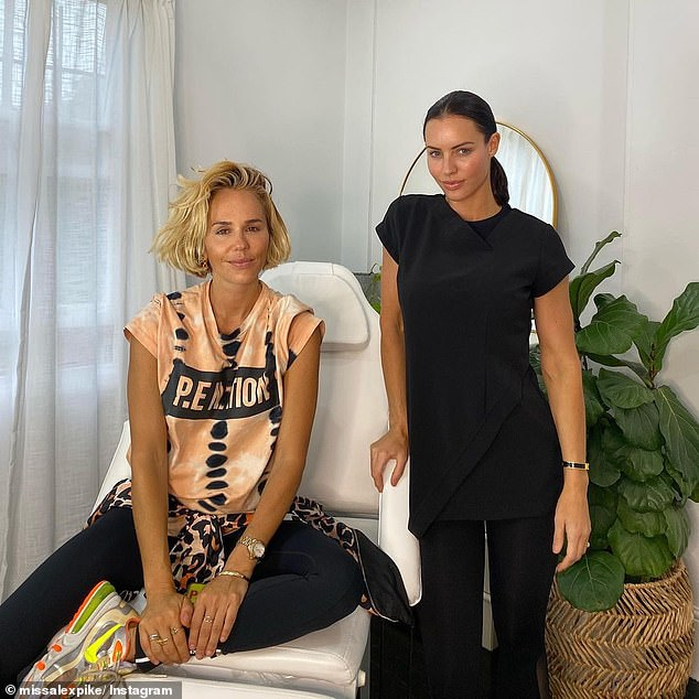'Queen P': In October, the 44-year-old cosmetic nurse shared this picture of herself with activewear mogul Pip Edwards during a consultation in Sydney's Paddington