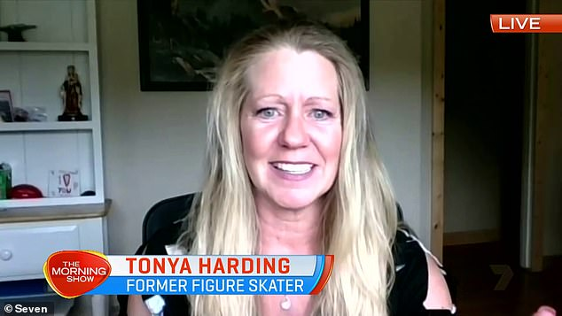 Touchy subject: Retired professional figure skater Tonya Harding became emotional during a rare TV appearance on Channel Seven's The Morning Show on Friday