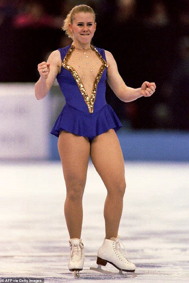 Memories:Tonya at one point broke down in tears while discussing the moment she made history as the first American woman to land a triple axel jump in competition. Pictured in 1994