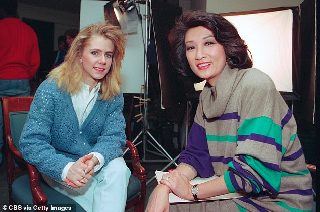 Sad: Harding's career was cut short at the age of 24 when she was banned for life from competing by the United States Figure Skating Association. Pictured with Connie Chung in 1994
