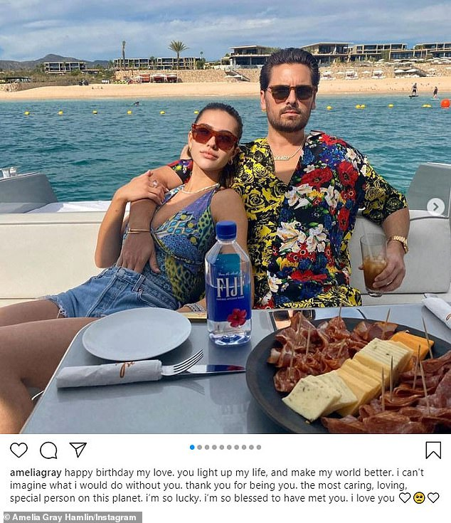 As for Amelia: She took to her own Instagram on Wednesday, the day of Scott's birthday, to share a packed photo gallery showing the two lovebirds in various intimate poses