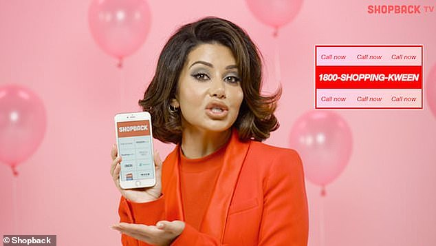 Small screen: The brunette has even appeared in a TV commercial for the Shopback app