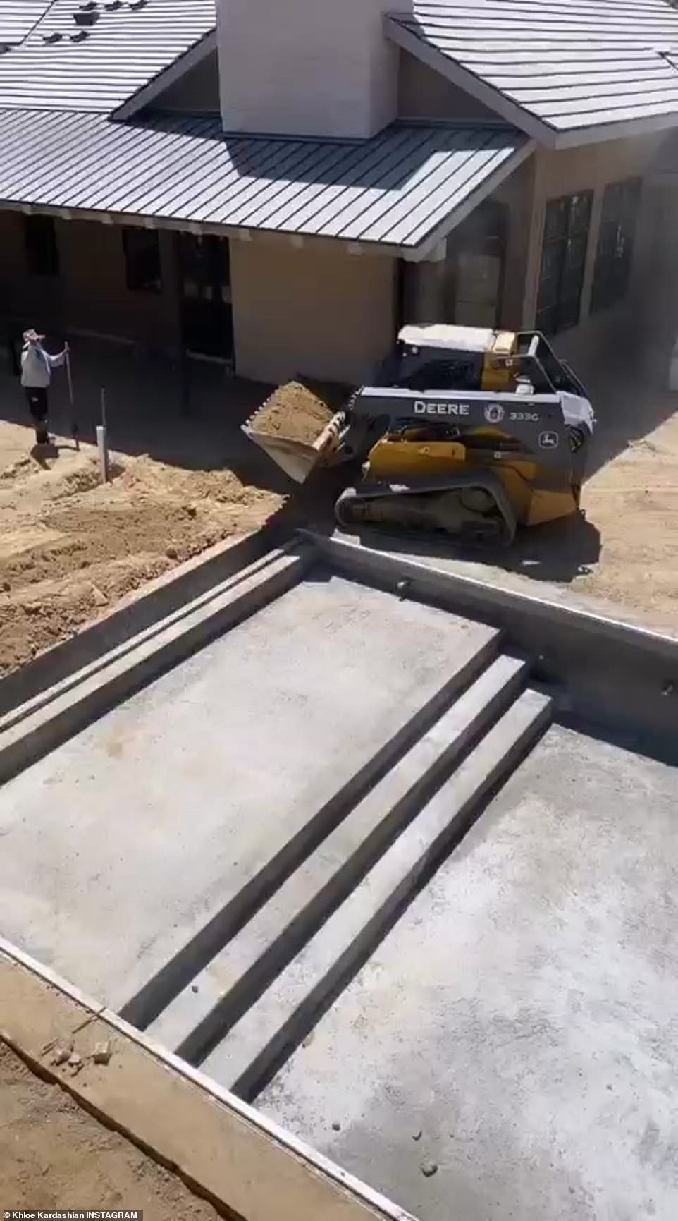 Coming along: While keeping her fans updated on the property's renovations, the 36-year-old reality star shared footage of an massive swimming pool, connected directly to a jacuzzi, as well as a glimpse of the mansion's interior