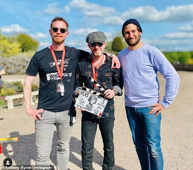 'Done & Done & Done': In May, Peaky Blinders finished filming its sixth and final season in Cheshire, the show's director, Anthony Byrne, 45, pictured centre, revealed