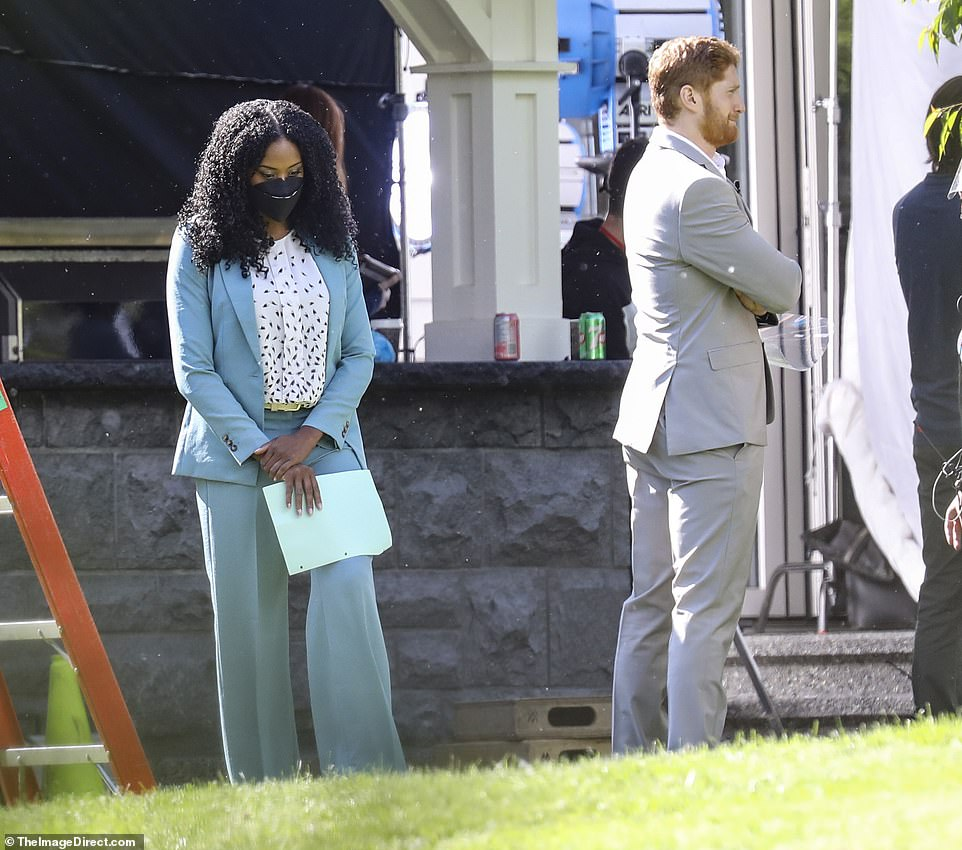 Bombshell: Jordan Dean as Prince Harry on the set of Harry and Meghan: Escaping The Palace, being filmed in Vancouver