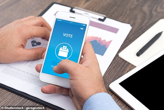 Researchers found that 64 per cent of Britons and and 72 per cent of Europeans would like to be able to vote in elections using their mobile phones, as depicted above