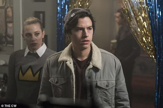 Exes on screen: Cole stars on The CW's hit series Riverdale as Archie's friend Jughead Jones. His ex-girlfriend Lili Reinhart stars as Betty Cooper; still from Riverdale