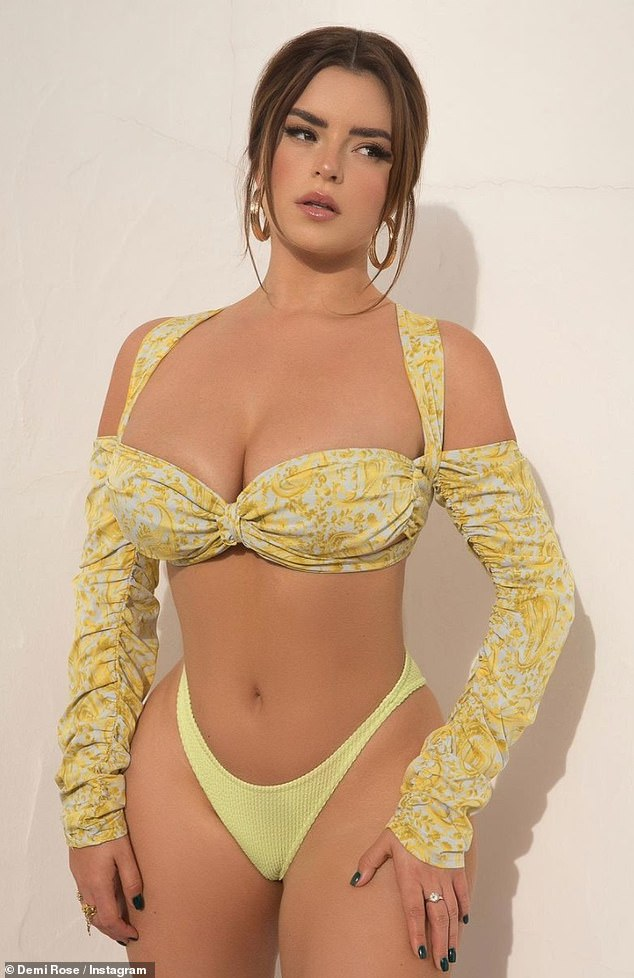 Covered up:She regularly treats her 16.5 million Instagram followers to raunchy content. Yet Demi Rose revealed she'd be treating fans to content far steamier than allowed on Instagram