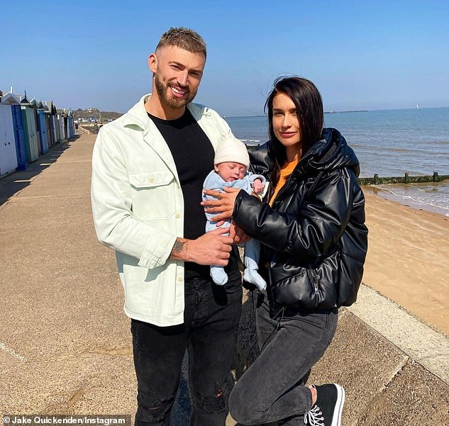 Upset: Jake has endured a challenging time on social media following Leo's birth in February, after vicious trolls claimed the newborn 'needs Botox' and that he's 'weird looking' (pictured with girlfriend Sophie)