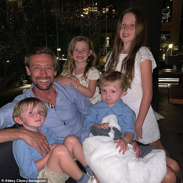 Family:Abbey, who has been married to the football ace since 2011, shares Sophia, 10, Liberty, five, Jonny, three, and Jack, one with Peter