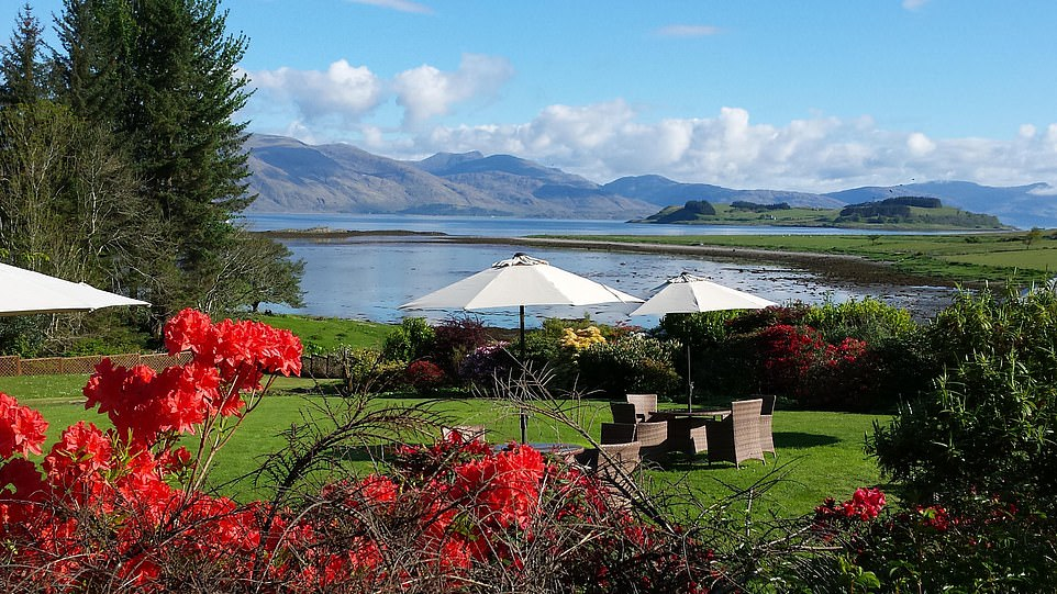 Epic scenery: The view of Loch Linnhe and the mountains from Airds Hotel's garden