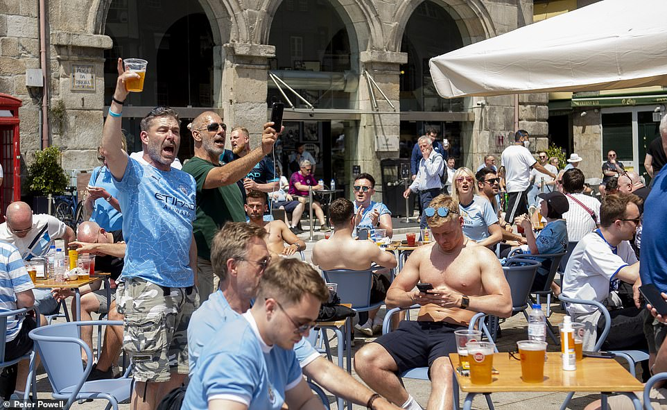 Boozy Britons took over pubs and bars in sunny Porto as they geared up for all-English fixture - the pinnacle in the European football calendar