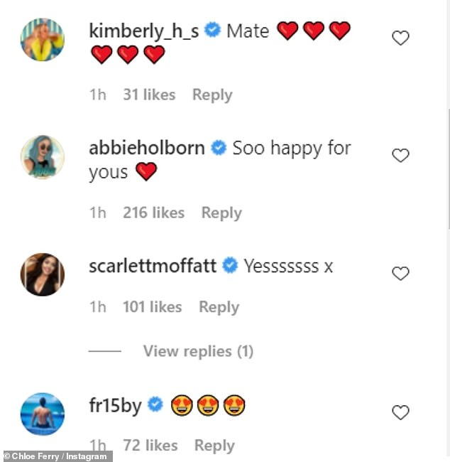 Mixed messages: Her Geordie Shore pals were left confused by the apparent engagement news while others congratulated her on the announcement