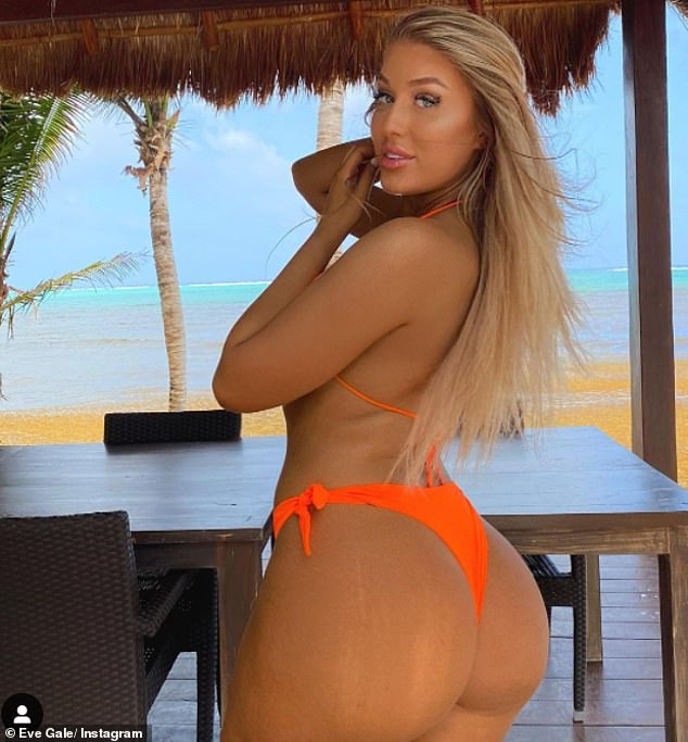 Sizzling:Eve Gale, 22, sizzled in a bright orange thong bikini on Saturday when she shared her latest Instagram snap from her and sister Jess' Mexico holiday