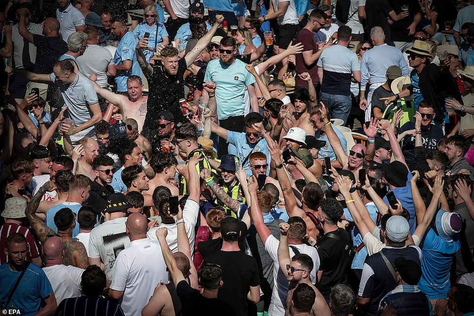 Sun starved Britons were enjoying the scenes of revelry as they drank beer and chanted ahead of the huge clash