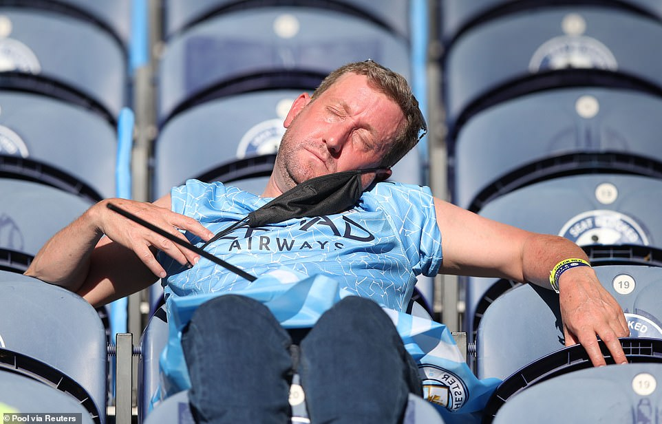 One City fan enjoyed a snooze before kick off as he soaked in the sun from the comfort of his seat inside the stadium