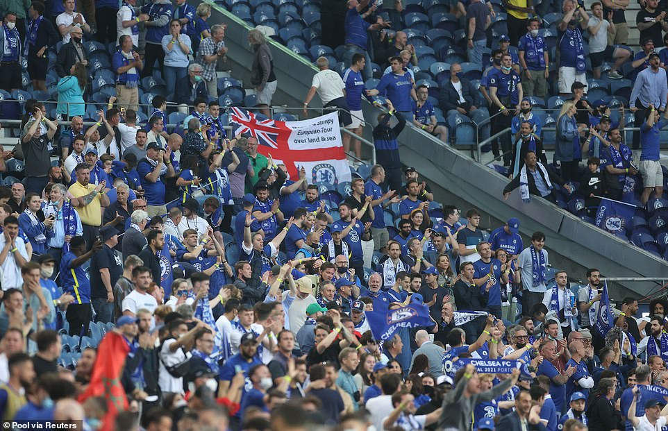 Chelsea fans celebrated a first half goal from Kai Havertz which gave them the lead in the prestigious Champions League in the all-English final