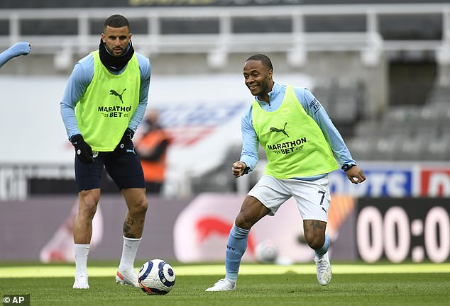 Manchester City pair Kyle Walker (L) and Raheem Sterling were both sent monkey emojis after their Champions League defeat to Chelsea