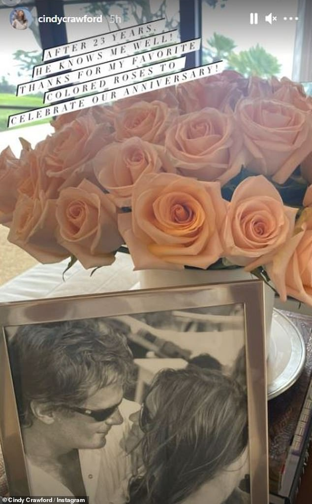 'He knows me well': The legendary supermodel shared a photo of the flowers Gerber sent to her for their anniversary