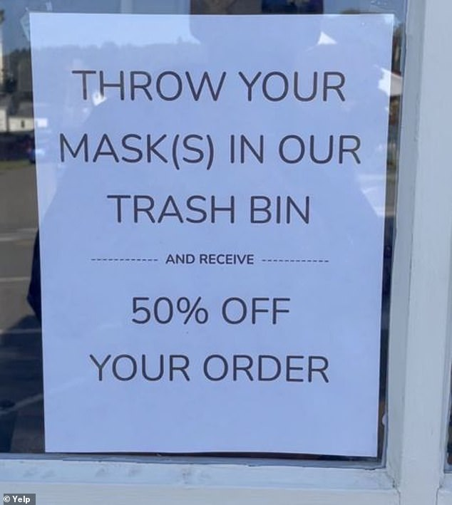 Fiddleheads made headlines again in mid-March when Castleman posted a sign that read: 'Throw your mask(s) in our trash bin and receive 50% off your order'