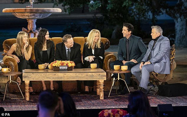 Back!The long-awaited Friends reunion finally made its debut on Thursday, with the sitcom's cast heading back to the iconic set to reminisce on the show's history, 17 years since its conclusion. The cast is pictured at the reunion