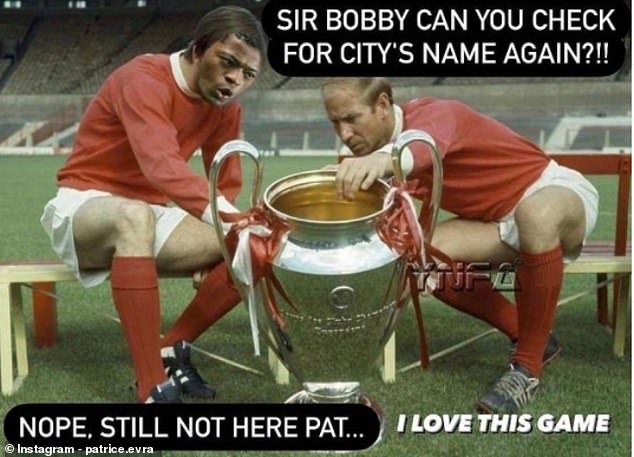 Patrice Evra has taken a swipe at Man Cityby using a photoshopped image of him (left) and Sir Bobby Charlton (right) to check for their name on the Champions League trophy