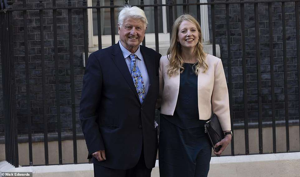 Mr Johnson's father, Stanley, was photographed outside No10 this evening with his daughter Julia, shortly after attending the service