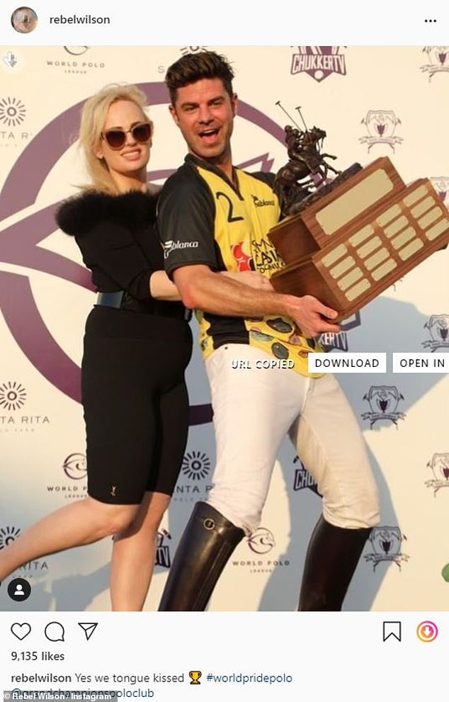 Fun:While on her vacation, the Bridesmaids actress attended the World Pride Polo Tournament at the Grand Champions Polo Club in Miami Beach ahead of her departure. She had on the same black ensemble as she posed with actor Sterling Jones on the red carpet
