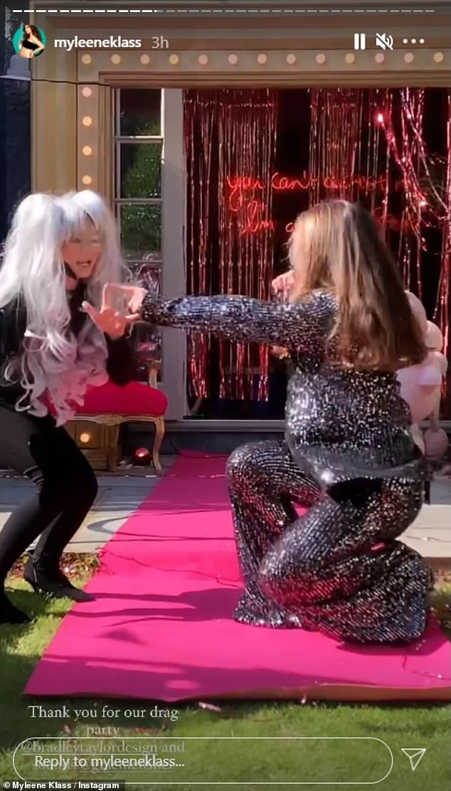 Lipsync for your life! Myleene set up a runway in the garden where they had lipsync battles