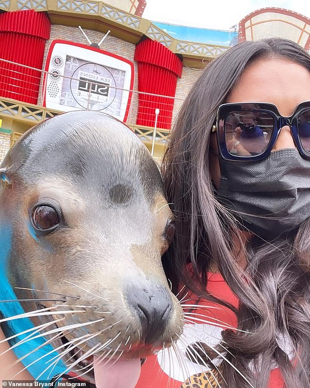 Seal shot:Bryant also shared a snap of her getting up close with a seal