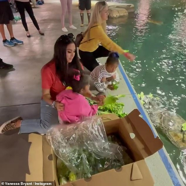 Fun-filled:Vanessa Bryant closed out her weekend with a fun-filled trip to SeaWorld, with her two youngest daughters, Bianka, 4, and Capri, 1