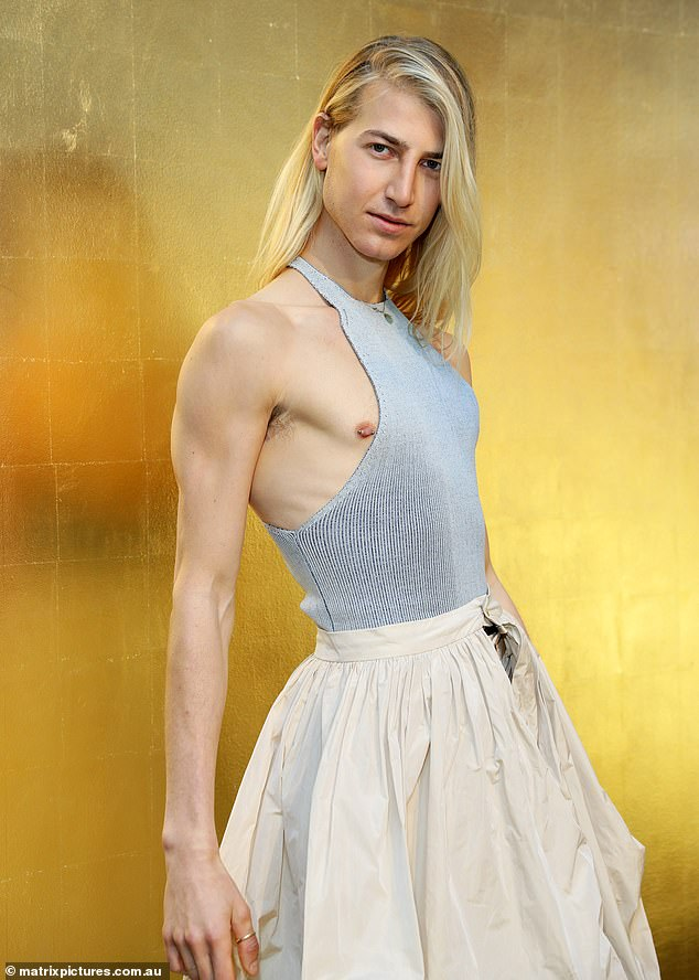 Style:The blond actor wore a voluminous Palomo Spain puffball skirt over a pair of trousers and a revealing halter neck ribbed top